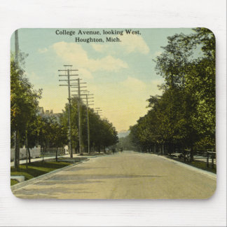 College Avenue Looking West Houghton, Michigan Mouse Pad