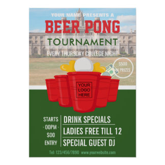 College Beer Pong Tournament add logo and photo Poster