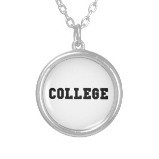 College Black Lettering Silver Plated Necklace