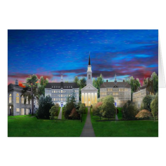 College Campus Middlebury summer night Card