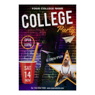 College DJ Party announcement add logo and photo Poster