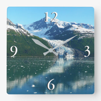 College Fjord I Beautiful Alaska Photography Square Wall Clock