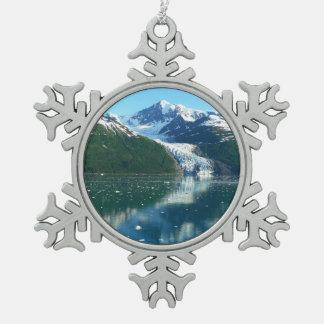 College Fjord I Scenic Alaska Cruising Snowflake Pewter Christmas Ornament