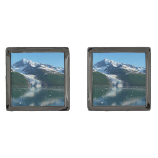 College Fjord II Beautiful Alaska Photography Gunmetal Finish Cuff Links
