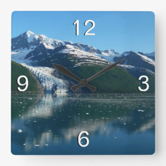 College Fjord II Beautiful Alaska Photography Square Wall Clock