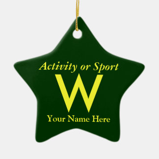 College or High School Varsity Letter Keepsake Ceramic Star Decoration