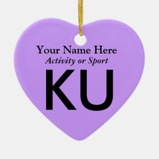 College or High School Varsity Letter Keepsake Ceramic Heart Decoration