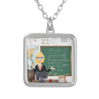 college professor silver-plated necklace