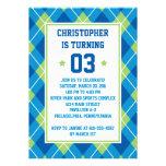 Collegiate Style Blue & Green Argyle 5X7 Birthday Personalized Invitation