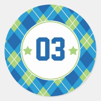 Collegiate Style Blue & Green Argyle Personalized Round Sticker