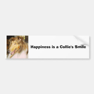 COLLIE1, Happiness is a Collie's Smile Bumper Sticker