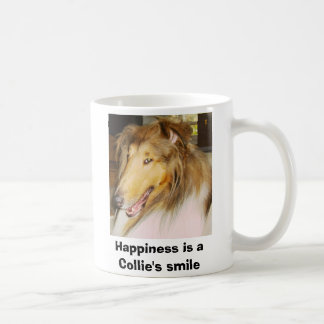 COLLIE1, Happiness is a Collie's smile Basic White Mug