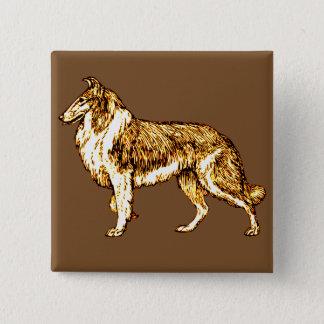 Collie 15 Cm Square Badge