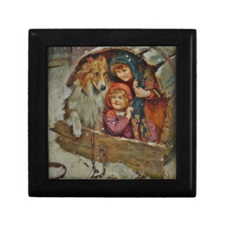 Collie and Children in the Doghouse Small Square Gift Box