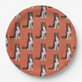 COLLIE & BIRD BIRTHDAY PAPER PLATE