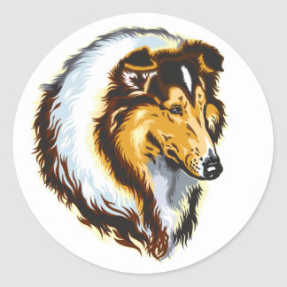 collie classic round sticker