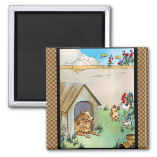 Collie Dog and Chickens Square Magnet