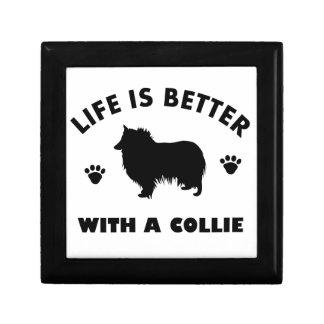collie dog design small square gift box