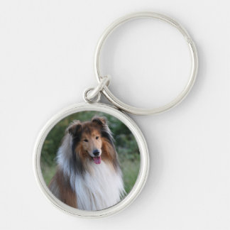 Collie dog keychain, gift idea Silver-Colored round key ring
