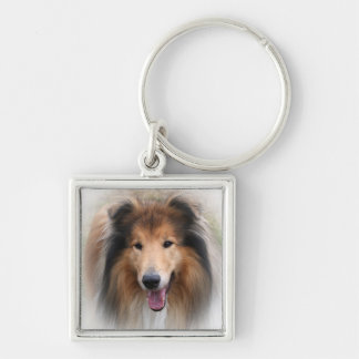 collie dog keychain, gift idea Silver-Colored square key ring
