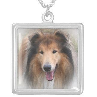 collie dog necklace, gift idea square pendant necklace