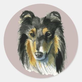 Collie Dog Watercolor Illustration Classic Round Sticker