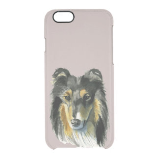 Collie Dog Watercolor Illustration Clear iPhone 6/6S Case