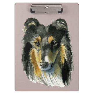 Collie Dog Watercolor Illustration Clipboard