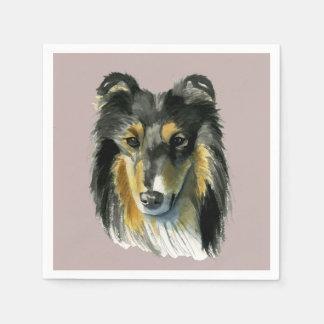 Collie Dog Watercolor Illustration Disposable Napkin