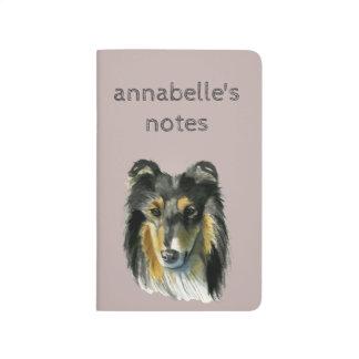Collie Dog Watercolor Illustration Journal