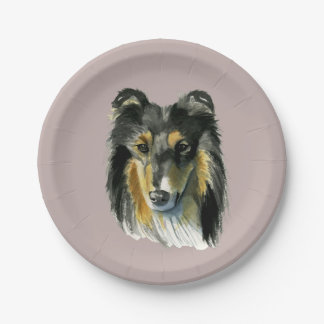 Collie Dog Watercolor Illustration Paper Plate