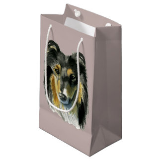 Collie Dog Watercolor Illustration Small Gift Bag