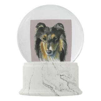 Collie Dog Watercolor Illustration Snow Globe