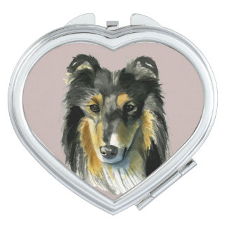 Collie Dog Watercolor Illustration Travel Mirrors