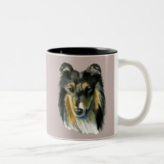 Collie Dog Watercolor Illustration Two-Tone Coffee Mug