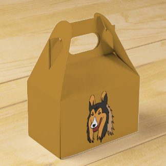 Collie Gift Box Gold Background
