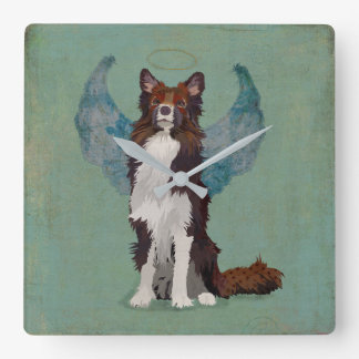 Collie Guardian Angel Square Wall Clock