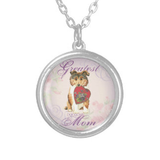 Collie Heart Mom Silver Plated Necklace