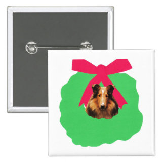 Collie Holiday Christmas Wreath Button
