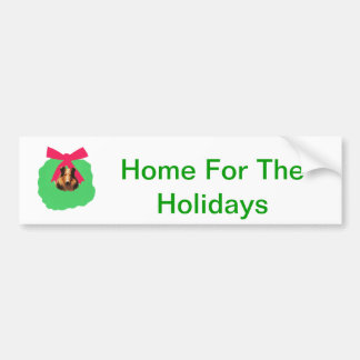 Collie Holiday Christmas Wreath Bumper Sticker