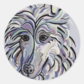 Collie in Denim Colors Classic Round Sticker