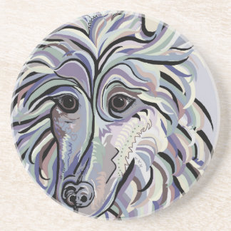 Collie in Denim Colors Coaster