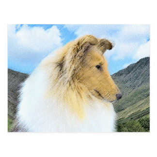 Collie in Mountains (Rough) Painting - Dog Art Postcard