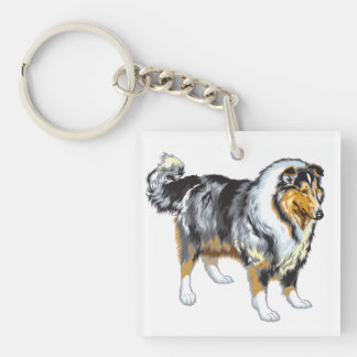 collie square acrylic keychain