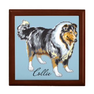 collie large square gift box