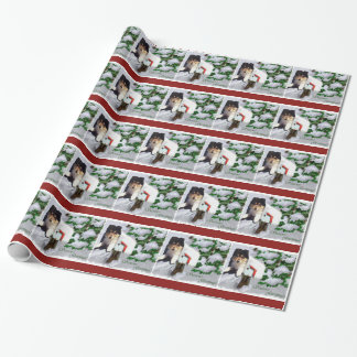 Collie Puppy Christmas Mailbox Wrapping Paper