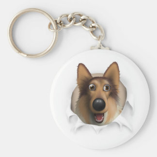 Collie (Rough Coat) Busting Out Basic Round Button Key Ring