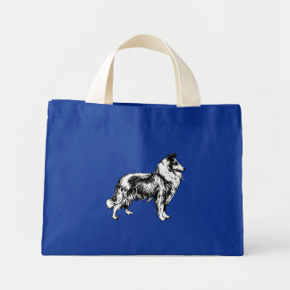Collie rough dog beautiful art brigh blue tote bag mini tote bag