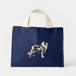 Collie rough dog beautiful art navy blue tote bag
