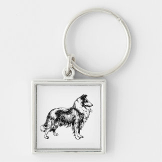 Collie rough dog beautiful illustration keychain